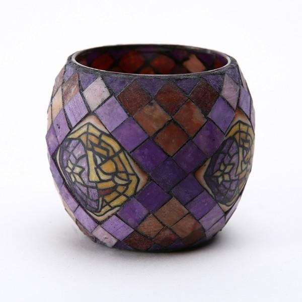 Fimo Glaswindlicht handgemacht lila mit buntem Mosaikmuster