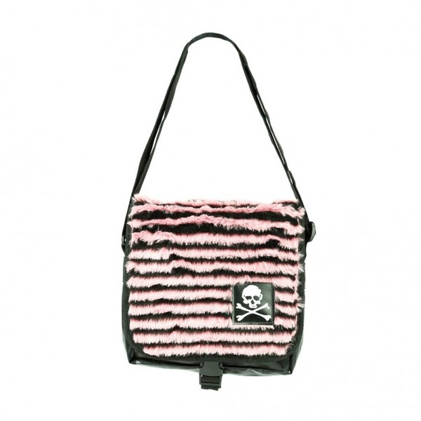 Gestreifte Messenger Tasche mit Totenkopf Patch in Schwarz Pink