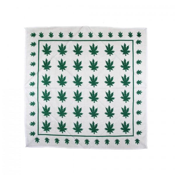Bandana Halstuch Weiß Marihuana Leaf 55 cm x 55 cm
