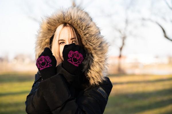 Gewebte Winter Handschuhe Love Hate Schlagring