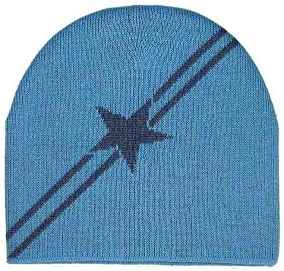 Mütze blau Strick mit Stern und Streifen