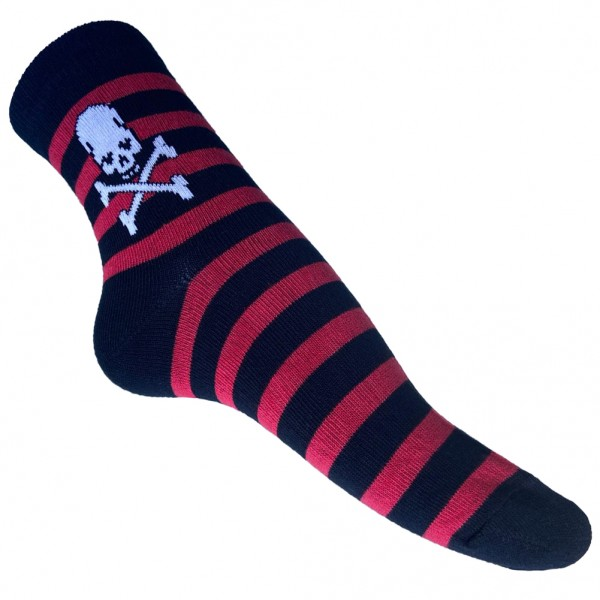 Sneaker Socken mit Skull Streifen Design