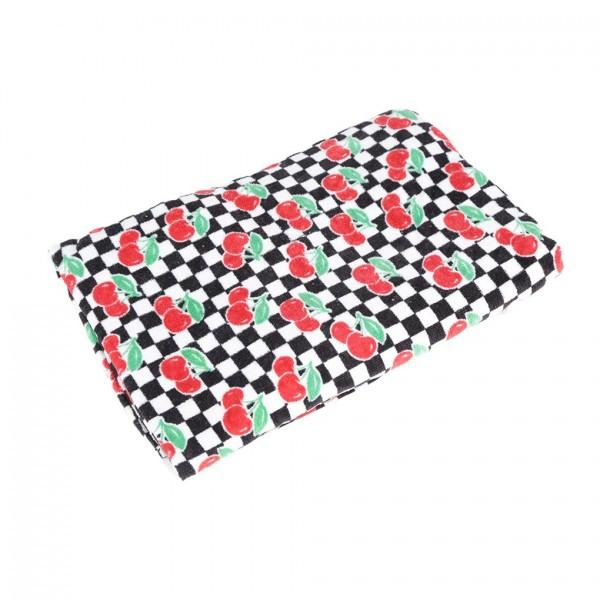 Schachbrett Karo Schwarz Weiß Handtuch mit Kirschen Print