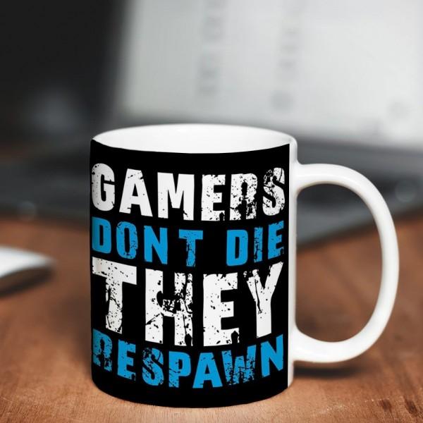 Geekinvader Gamers Dont Die They Respawn Logo Tasse Schwarz ca. 300ml