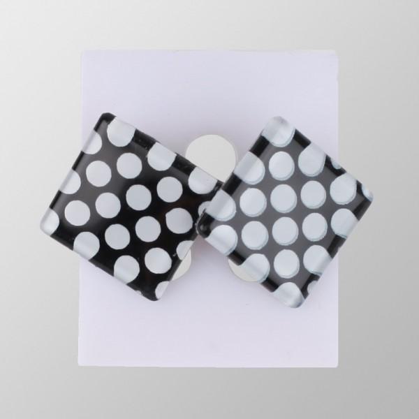 Quadratische Rockabilly Ohrringe mit Tupfen