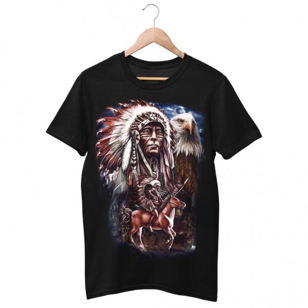 Wild Motiv Shirt Schwarz Indianers Stolz im Tierrudel