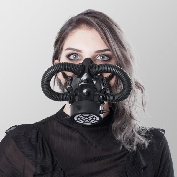 Steampunk Gasmaske mit Röhren, Spikes und eines Luftventil Schwarz Gasmaske Schwarz