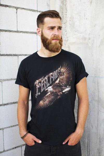 Wild Motiv Shirt Schwarz Fühle dich Frei Adler