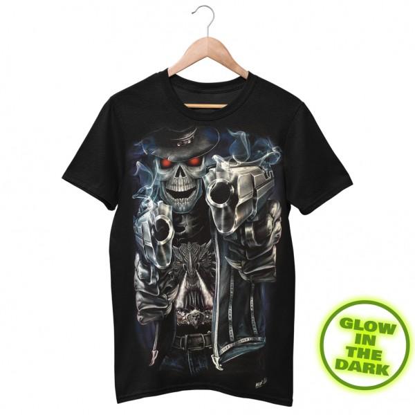 Wild Motiv Shirt Schwarz Totenskelett Cowboy