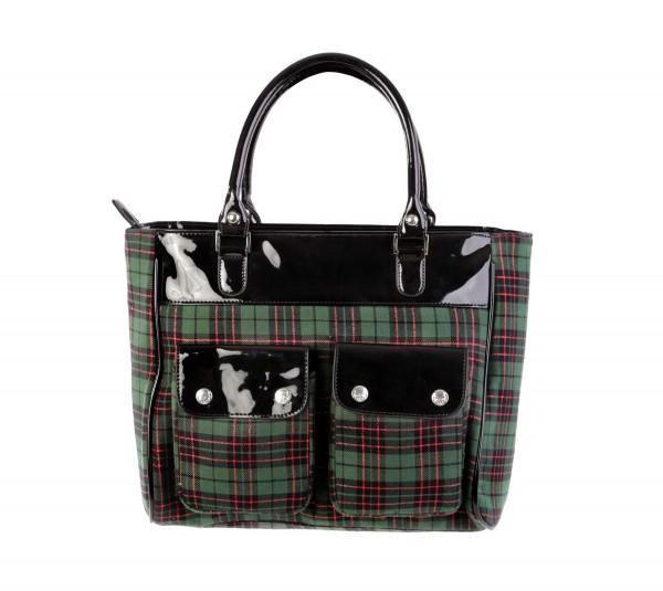 Grüne Tartan Handtasche