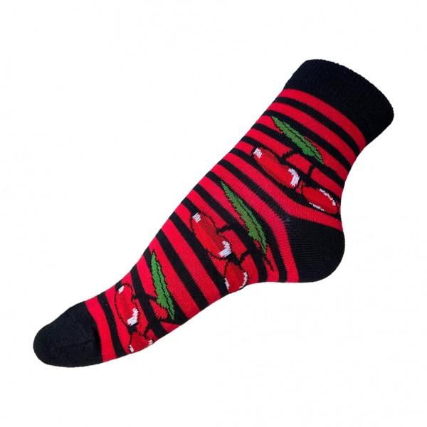Gestreifte Kirschen Socken Schwarz Rot one size