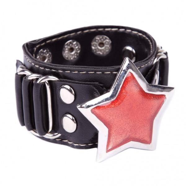 Kunstleder Armband mit metallschnalle - Stern Rot