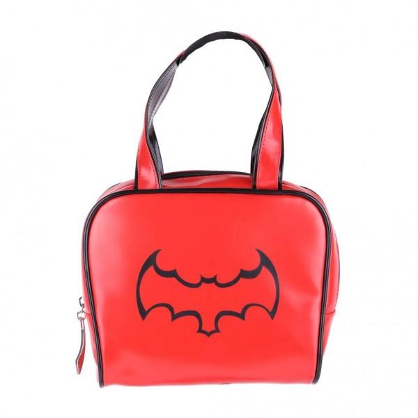 Rote Bowling Handtasche mit Schwarzer Fledermaus