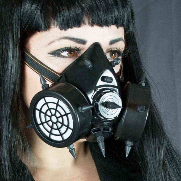 Steampunk Gasmaske mit Spikes und Doppelventil Schwarz Gasmaske Schwarz