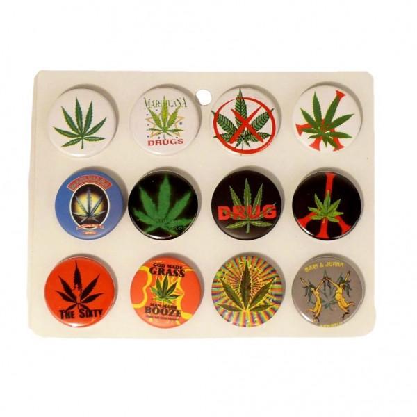 Marihuana Blatt Buttons Gemischt