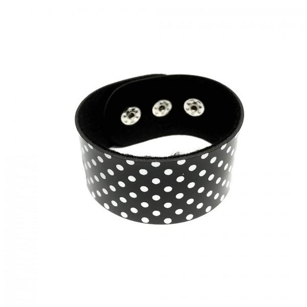 Kunstleder Armband Schwarz mit Weißen Punkten