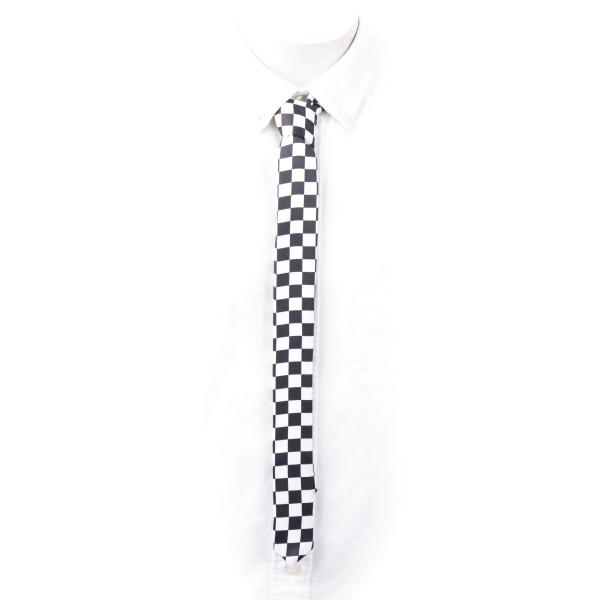 Schmale Krawatte Schwarz Weiß im Schachbrett Design