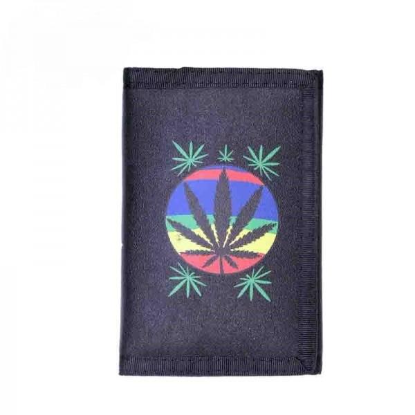Space Out Marihuana Regenbogen Hanf Blatt Geldbörse mit Münzfach und Kette