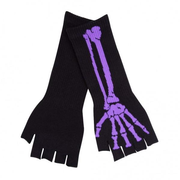 Stulpen Fingerlose Handschuhe mit Lila Knochen Design