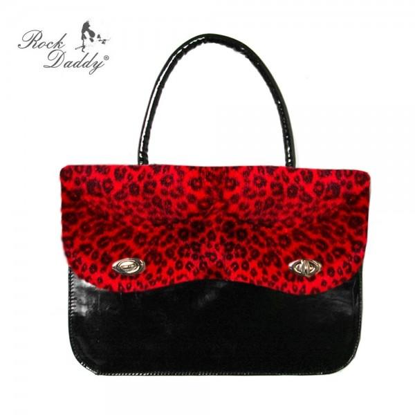 Handtasche aus Lack mit Roter Leofellaplikation