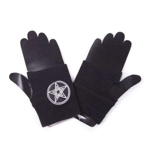 Occult Pentagram Fingerlose Handschuhe