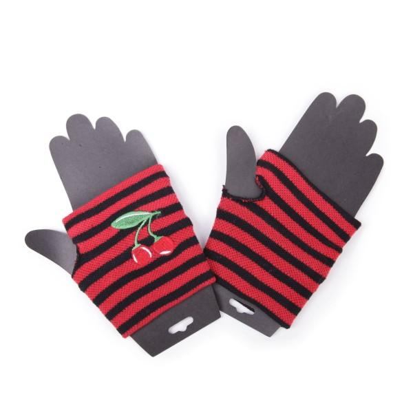 Fingerlose Gestreifte Handschuhe mit Kirschen Stickerei