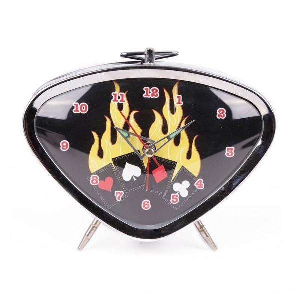 Rockabilly Wecker mit Flammendem Kartenspiel