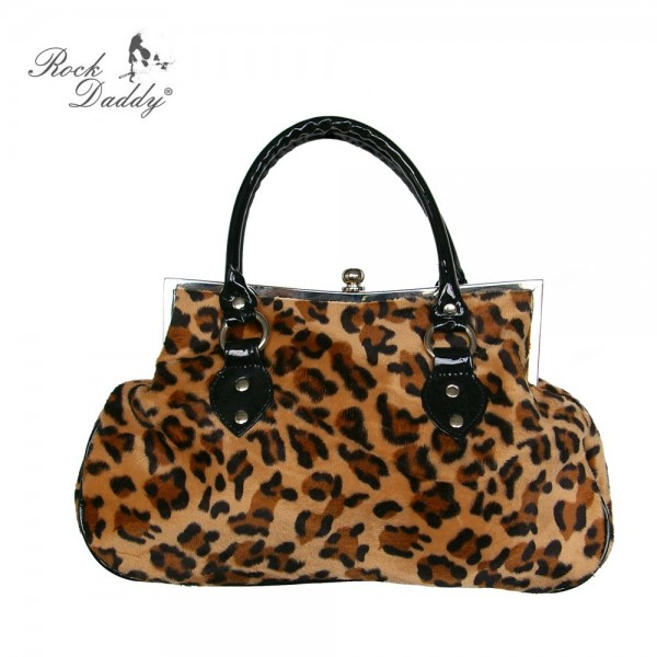 Rockabella Braune Leoparden Fell Handtasche mit Schwarzem Lack