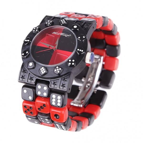 Red Light Würfel Armbanduhr
