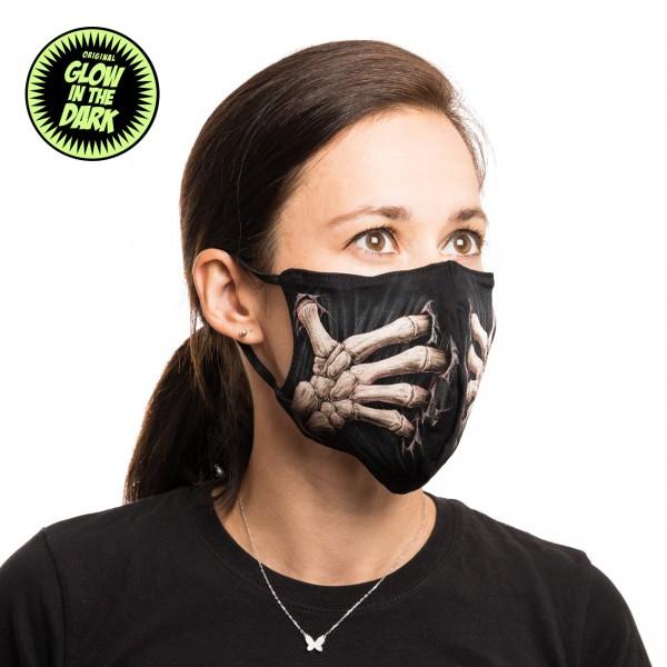 Skelett Knochen Hand Glow in the Dark Stoffmaske