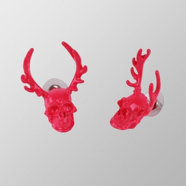 UV Pinke Totenkopf Elch Ohrringe