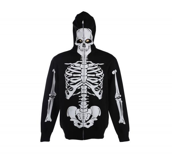 Kinder Maskenjacke Schwarz mit Skelett Aufdruck