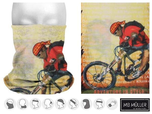 Mountanbike Multifunktionsschal mit Biker Aufdruck