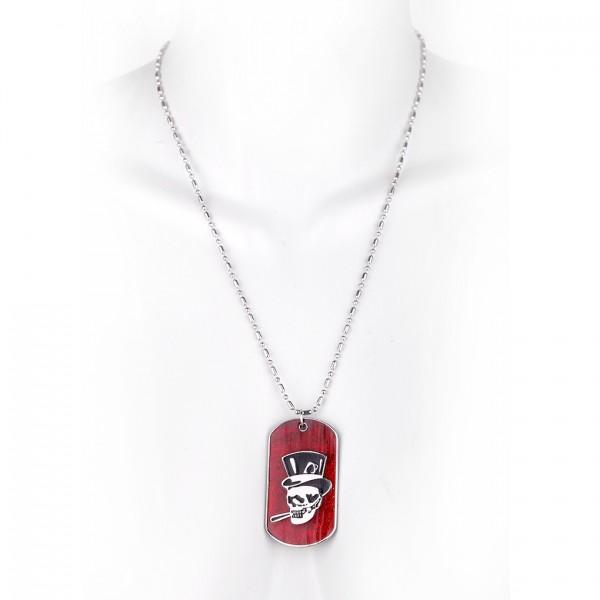 Metallkette mit Dog Tag (klein) - Totenschädel mit Hut - Bordeaux