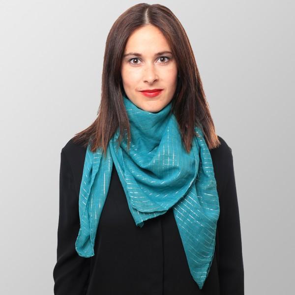 Stahl Blaues Lurex Halstuch aus Baumwolle