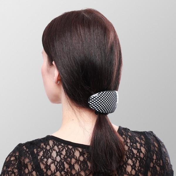 Haarspange Retro Oval Gepunktet 6er Display- 3x Weiß / Schwarz und 3x Schwarz / Grau