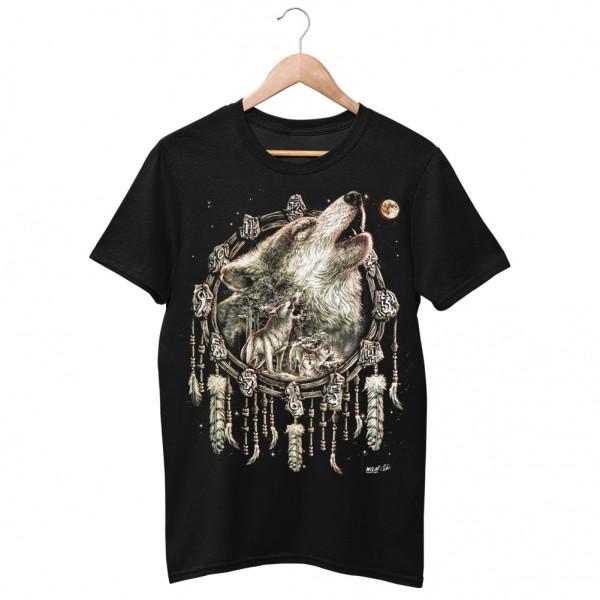 Wild Motiv Shirt Schwarz Feder Traumfänger