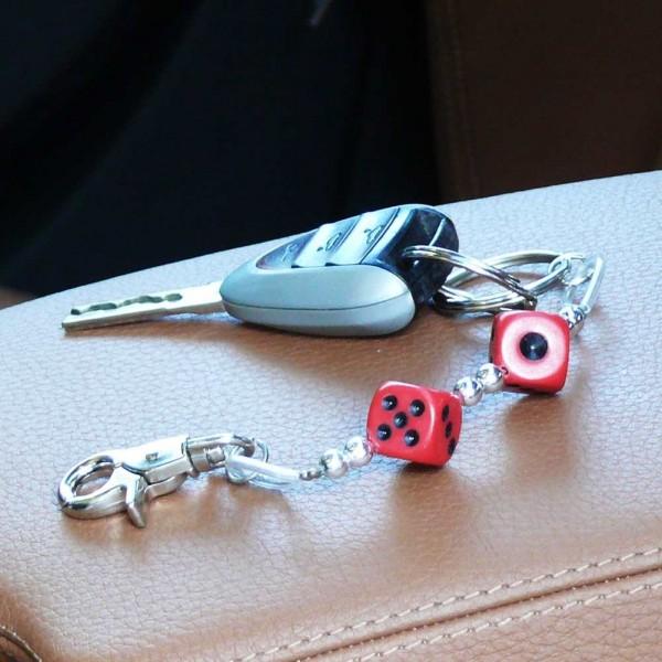 Würfel Schlüsselanhänger zweireihig in Rot