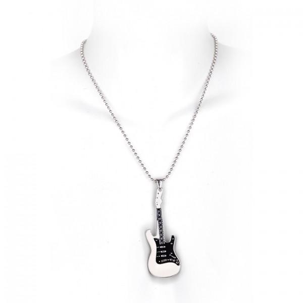 Metallkette mit Anhänger - Gitarre - Weiß / Schwarz