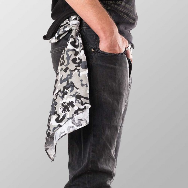 Bandana Halstuch Camouflage Grau Schwarz 55 cm x 55 cm