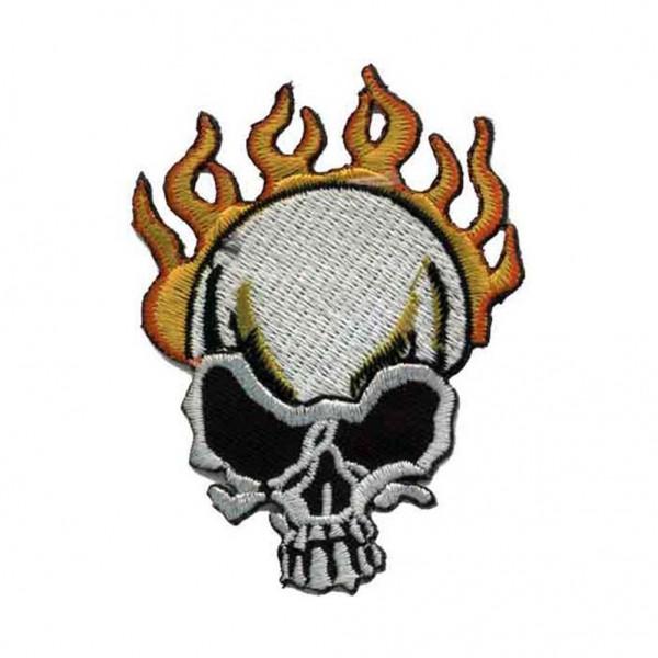Flammender Totenschädel Patch