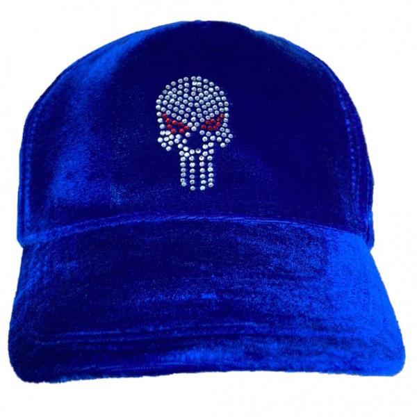 Rock Daddy Samt Cap mit Strass Punisher Skull