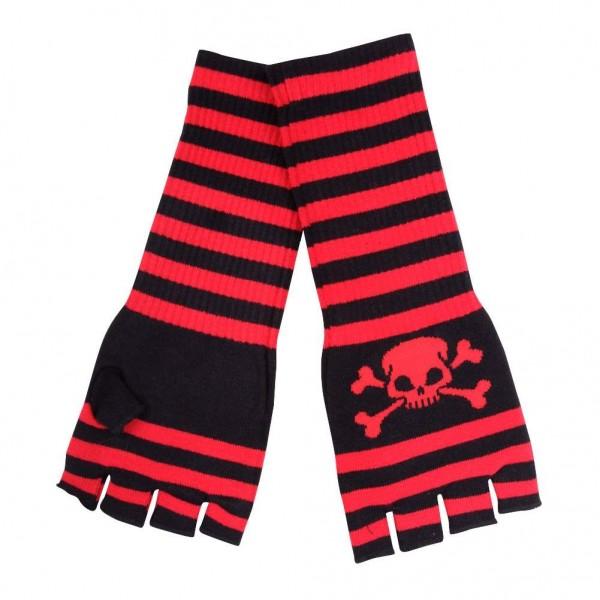 Gestreifte Handschuhe Schwarz Rot mit Jolly Roger Skull Motiv