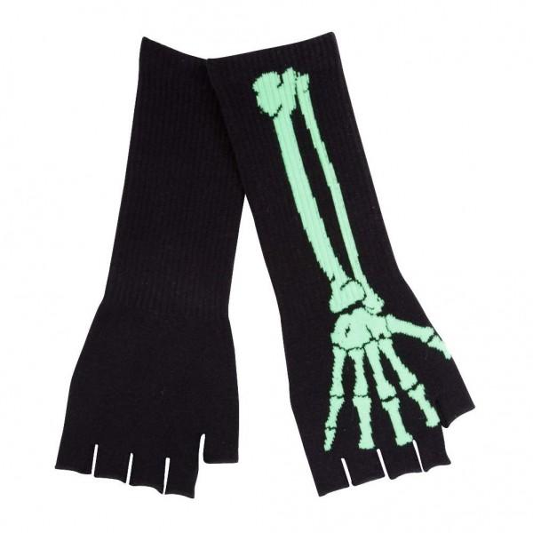Lange Fingerlose Handschuhe im Acid Green Skelett Design
