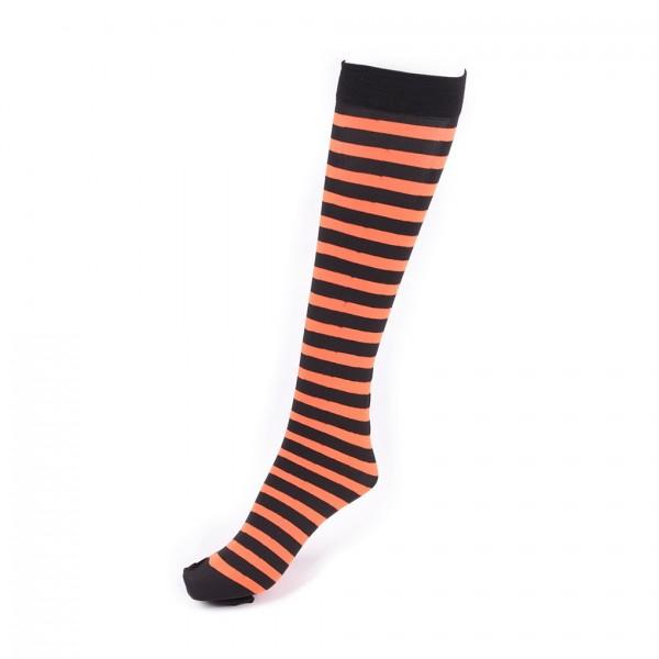 Orange Schwarz Gestreifte Knie Socken