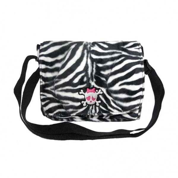 Zebra Fell Optik Messenger Umhängetasche mit Skull Gummi Patch