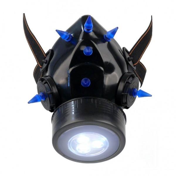 Gasmaske mit UV Neon Spikes und LED Licht Exclusive Batterien