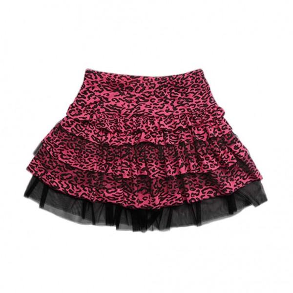 Little Diamond New York Mädchen Leoparden Tüll Rock in Schwarz Pinken Muster