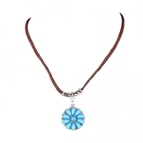 Lederkette mit Türkisem Indianer Amulett