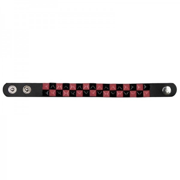 Nieten Armband Schwarz Pink Kariert
